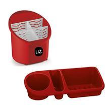 Kit Escorredor Porta Talheres + Organizador Pia Porta Detergente Cozinha - Uz -