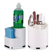 Kit Escorredor Talheres + Porta Detergente Pia Branco Future -