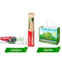 Kit Escova Dental Colgate Bamboo e Gel Dental com Carvão Ativado Natural Extracts 90g + Ecobag -