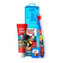 Kit Escova Dental Liga Da Justiça Escova Ultra Macia + Fio Dental + Gel Dental DentalClean -