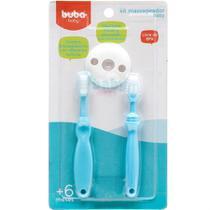 Kit Escova e Massageador Baby 0m+ Azul - Buba -