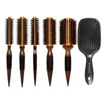 Kit escovas profissionais termicas metalicas e raquete marco boni -