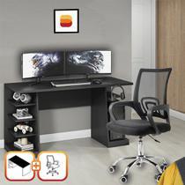 Kit Escritorio Completo com Mesa Escrivaninha 6 prateleiras e Cadeira Executiva Madri Preto - Notavel