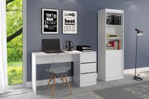 Kit escritório Estante 2 portas e Mesa de Computador 3 gavetas Branco Fosco - Atualle -