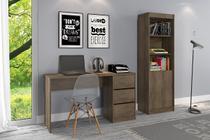 Kit escritório Estante 2 portas e Mesa de Computador  3 gavetas Mocaccino Rústico - Atualle -