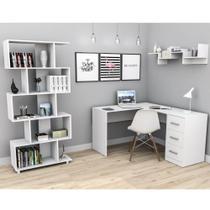 Kit Escritório Office Mesa com 3 Gavetas e Estante 5 Nichos - Appunto