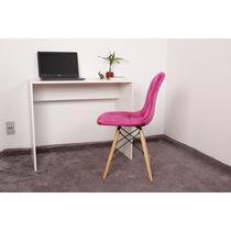 Kit Escrivaninha 90cm Branca + 01 Cadeira Botonê Veludo - Rosa - Magazine Decor