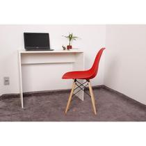 Kit Escrivaninha 90cm Branca + 01 Cadeira Charles Eames - Vermelha - Magazine Decor