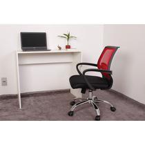 Kit Escrivaninha 90cm Branca + 01 Cadeira Secretária Plus - Vermelha - Magazine Decor