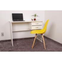 Kit Escrivaninha Com Gaveteiro Branca + 01 Cadeira Charles Eames - Amarela - Magazine Decor