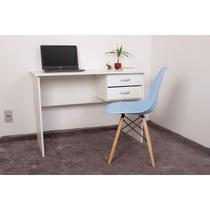 Kit Escrivaninha Com Gaveteiro Branca + 01 Cadeira Charles Eames - Azul Claro - Magazine Decor