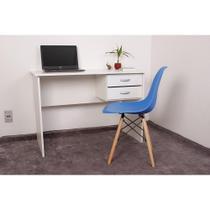 Kit Escrivaninha Com Gaveteiro Branca + 01 Cadeira Charles Eames - Azul - Magazine Decor