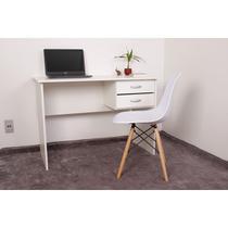 Kit Escrivaninha Com Gaveteiro Branca + 01 Cadeira Charles Eames - Branca - Magazine Decor