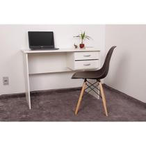 Kit Escrivaninha Com Gaveteiro Branca + 01 Cadeira Charles Eames - Marrom - Magazine Decor