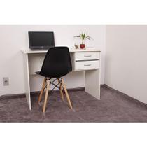 Kit Escrivaninha Com Gaveteiro Branca + 01 Cadeira Charles Eames - Preta - Magazine Decor