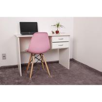 Kit Escrivaninha Com Gaveteiro Branca + 01 Cadeira Charles Eames - Rosa - Império Brazil Business