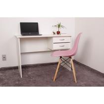 Kit Escrivaninha Com Gaveteiro Branca + 01 Cadeira Charles Eames - Rosa - Magazine Decor