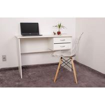 Kit Escrivaninha Com Gaveteiro Branca + 01 Cadeira Charles Eames - Transparente - Magazine Decor