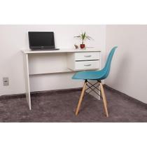 Kit Escrivaninha Com Gaveteiro Branca + 01 Cadeira Charles Eames - Turquesa - Magazine Decor