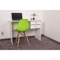 Kit Escrivaninha Com Gaveteiro Branca + 01 Cadeira Charles Eames - Verde - Magazine Decor