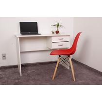 Kit Escrivaninha Com Gaveteiro Branca + 01 Cadeira Charles Eames - Vermelha - Magazine Decor