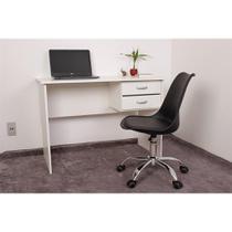 Kit Escrivaninha Com Gaveteiro Branca + 01 Cadeira Eiffel Office - Preta - Magazine Decor
