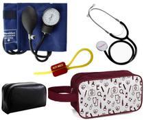 Kit Esfigmomanometro E Estetoscopio Simples Premium + Necessaire Vinho -