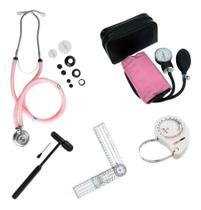 Kit Esfigmomanometro + Estetoscópio Duplo + Martelo Buck + Trena + Goniometro - Premium
