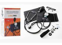 Kit Esfigmomanometro + Estetoscopio + Garrote + Oculos Cor Preto - Pamed