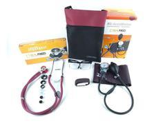 Kit Esfigmomanometro + Estetoscopio + Garrote + Oculos Cor Vinho - Pamed