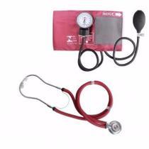 Kit esfigmomanômetro + estetoscópio rappaport premium cor vinho -