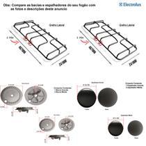 Kit espalhadores + bacias + grelhas p/ fogão electrolux 4 bocas 56 esx -