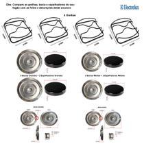 Kit espalhadores + bacias + grelhas p/ fogões electrolux 4 bc 52 sbl -