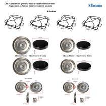 Kit espalhadores + bacias + grelhas p/ fogões electrolux 4 bocas 50 er -