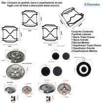 Kit espalhadores + bacias + grelhas p/ fogões electrolux tripla chama 4 bc 56 eax -