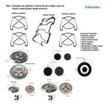 Kit espalhadores + bacias + grelhas p/ fogões tripla chama electrolux 5 bc 76 dtb -