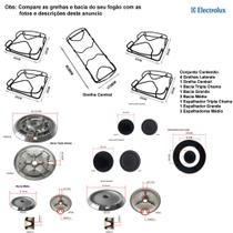 Kit espalhadores + bacias + grelhas p/ fogões tripla chama electrolux 5 bocas 76 srb -