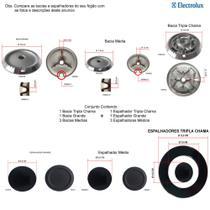 Kit espalhadores + bacias p/ fogões tripla chama electrolux 5 bocas 76 dtb -