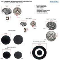 Kit espalhadores + bacias p/ fogões tripla chama electrolux 5 bocas 76 exr -