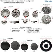 Kit espalhadores + bacias p/ fogões tripla chama electrolux 5 bocas 76 rbs -