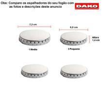 Kit espalhadores em alumínio para fogões dako supreme 4 bocas -