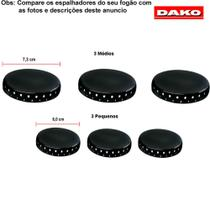 Kit espalhadores esmaltado para fogões dako accord 6 bocas -