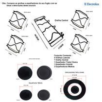 Kit espalhadores + grelhas p/ fogões tripla chama electrolux 5 bocas 76 exr -
