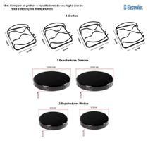 Kit espalhadores + grelhas para fogões electrolux 4 bocas 52 rxl -