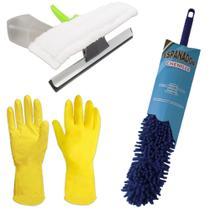 Kit Espanador Flexível, Borrifador Limpa Vidros e Luvas G - Vendasshop