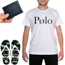 Kit Especial Casual + Chinelo Estampa Camuflado + Camiseta Branca Polo +Carteira Pequena c/ Divisão - Efect