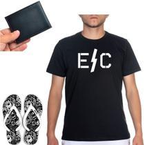Kit Especial Casual + Chinelo Estampa Crânio Dog + Camiseta Preta Polo + Carteira Pequena CNH Cartão - Efect