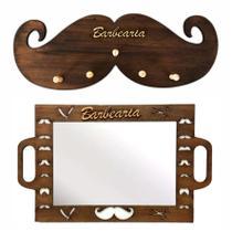 Kit Espelho Barbeiro Cabide Bigode Personalizado Barber Shop - Jjveras