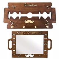 Kit Espelho Barbeiro Cabide Gilete Personalizado Barber Shop - Jjveras
