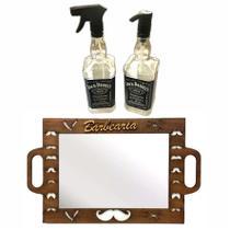 Kit Espelho Barbeiro Saboneteira Borrifador Jack Daniels Barber Shop Personalizado - Jjveras